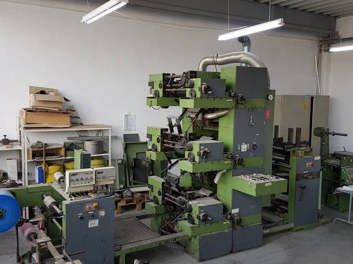 BST 3 color flexo machine on size 25cm (1990)