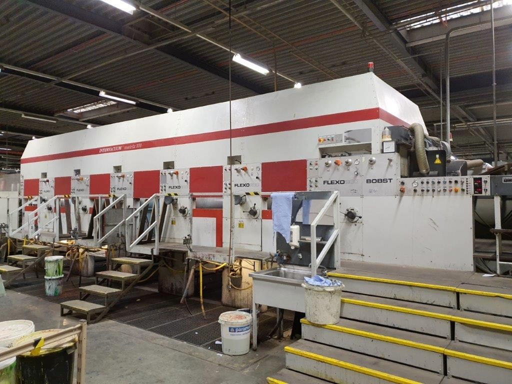 BOBST SPO 2000 FLATBED DIE-CUTTER IN LINE WITH BOBST FLEXO 200 SIX COLOURS PRINTING LINE